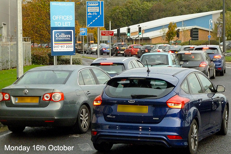 Photo of traffic in Bradley Stoke at a standstill on Monday 16th October 2017.