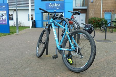 Photo of bicycles parked near the entrance to Bradley Stoke Leisure Centre.