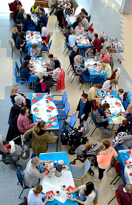 Photo of the cream tea event taken from the balcony.