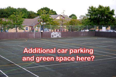 "Hard court area with overlay saying@ ""Additional car parking and green space here?"""