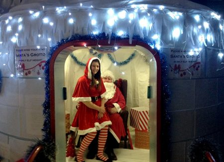 Photo of the oxygen chamber doubling as Santa's grotto at the 2016 Christmas fair.