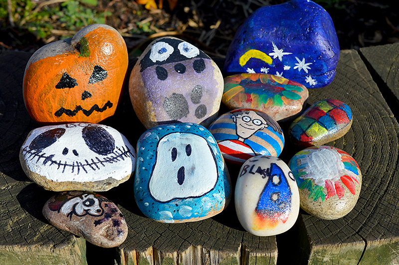 Pebbles decorated by members of The Stokes Rocks group on Facebook.