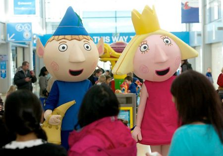 Photo of characters from children's favourite Ben and Holly's Little Kingdom on a previous visit to the Willow Brook Centre.
