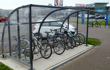 Photo of a bike parking shelter at Bradley Stoke Leisure Centre.