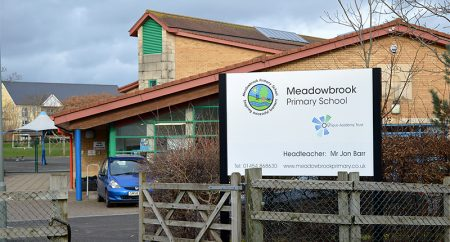 Photo of Meadowbrook Primary School, taken from Crystal Way.