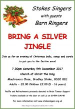 Poster for Stokes Singers' Christmas concert 'Bring a Silver Jingle'.
