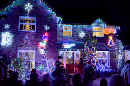 Photo of the Christmas lights at 10 Watch Elm Close.