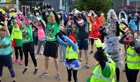Photo of the warm-up for the Santa Run on 2nd December.
