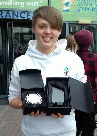 Photo of Sophie Mitchell with her prize day awards.