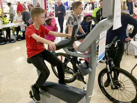 Photo of Josh Harding taking part in his static cycle challenge.