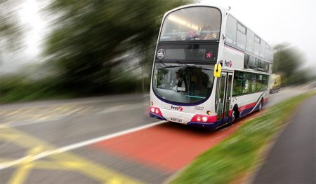 Photo of a double decker bus in First Bus livery.