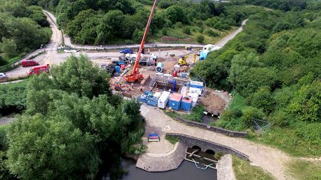 Aerial view of the Wessex Water tunnelling compound in the Three Brooks Local Nature Reserve (July 2017).