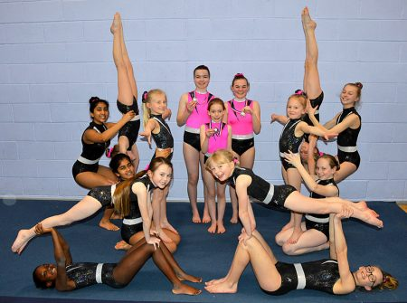 Photo of fifteen of the 16-strong squad which BS Gymnastics Club sent to the South West Prelims.