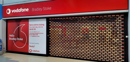 Photo of the closed Vodafone store.