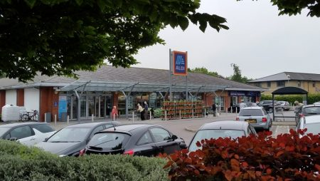 Photo of the Aldi store taken on the day it re-opened following refurbishment.