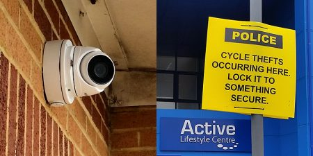 Photo of CCTV camera and warning signage at Bradley Stoke Leisure Centre.