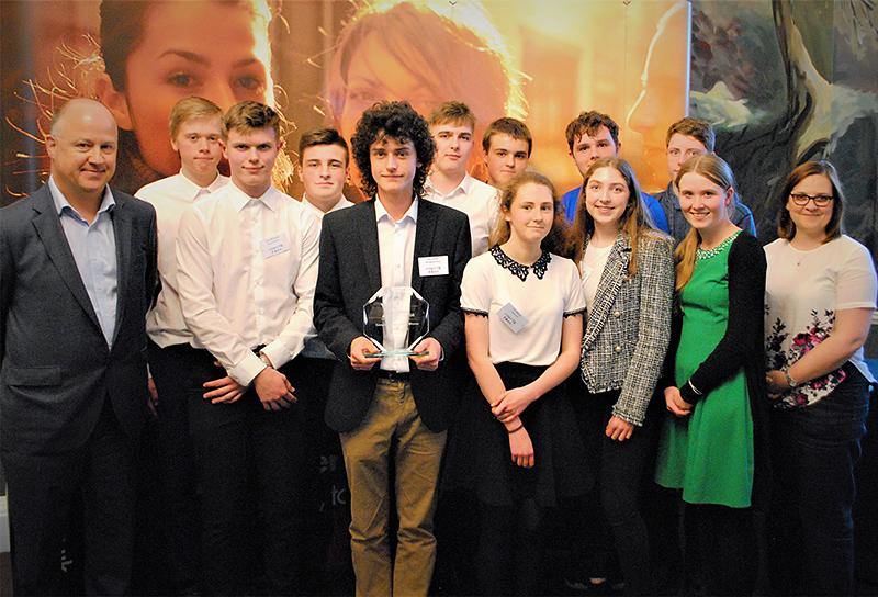 Photo of the team behind Bradley Stoke Community School's student business Phonic Farm.