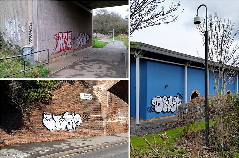 Photos of tagging-style graffiti in Bradley Stoke and Stoke Gifford.