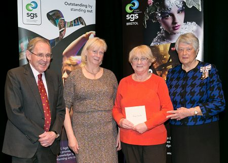 Photo of Mary Oliphant and Sue Peard receiving the award on behalf of Patchway Memory Café.