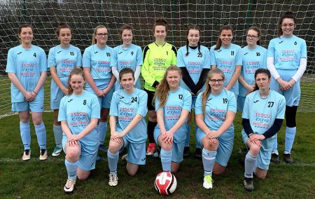 Photo of the Bradley Stoke Youth FC U16 Girls' team (March 2018).