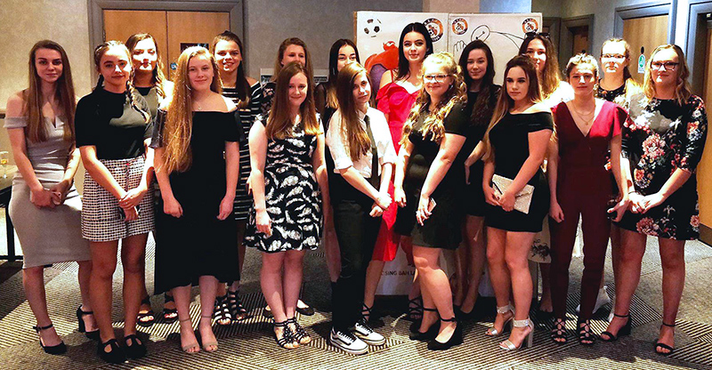 Photo of the BSYFC U16 Girls at their presentation evening.