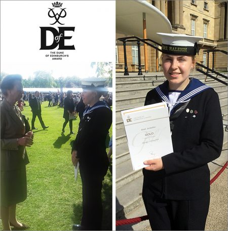 Photos of gold DofE award winner Heidi Sermulins chatting with The Princess Royal and holding her certificate.
