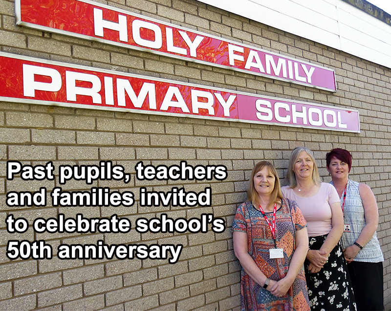 Photo of staff at Holy Family RC Primary School. L-r: Alison Bush (teaching assistant), Anne Collins (administrator) and Caroline Carter (head).