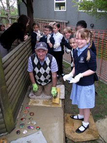 A 'memory path' being installed at St Chad's Primary School, Stoke Lodge.