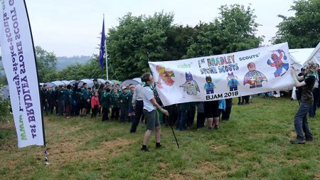 Members of the 1st Bradley Stoke Scout Group at the Brunel Jamboree in May 2018.