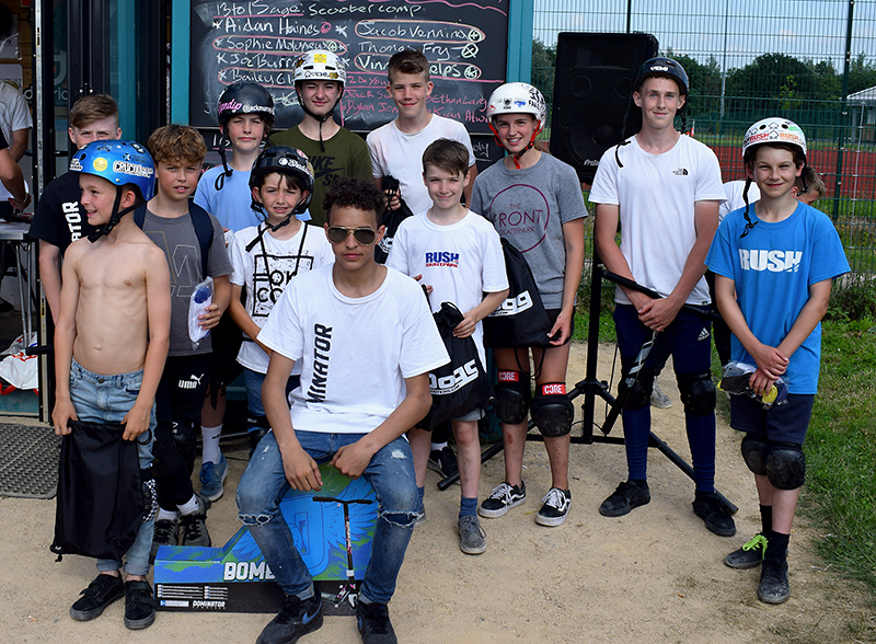 Bradley Stoke Community Festival Skate Jam prize winners in the scooter competition.