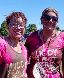 Charity fundraisrs Danni Bray and Tillie Morris at the Pretty Muddy Race for Life.