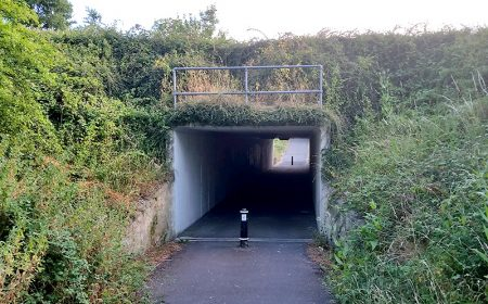 Photo of the pedestrian underpass at Huckley Way.