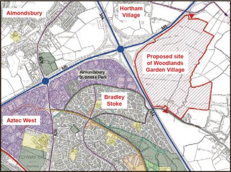 Map showing the site of the proposed Woodlands Garden Village.