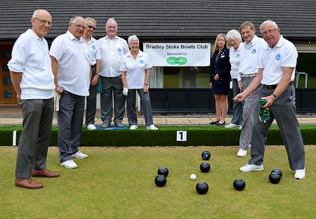 A game in progress at the Bradley Stoke Bowls Club ground, Baileys Court.