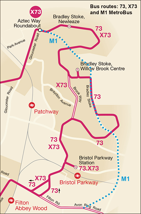 Map showing Bradley Stoke bus routes: 73, X73 and M1 MetroBus.