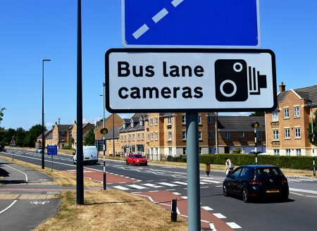 Photo of a sign warning of bus lane cameras on Bradley Stoke Way.