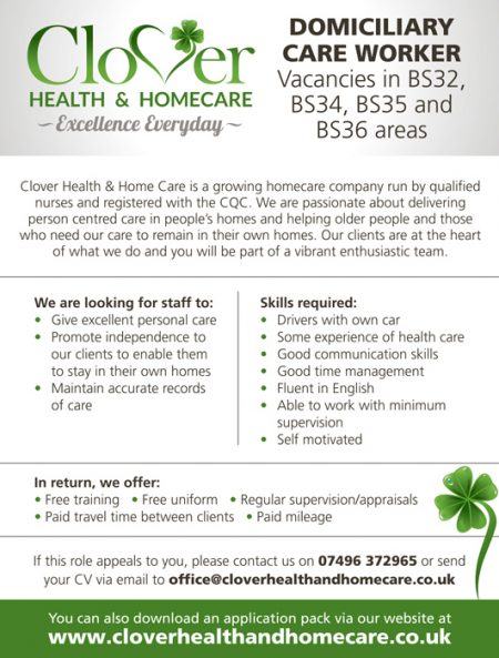 Domiciliary care worker required by Clover Health & Homecare, Bristol.