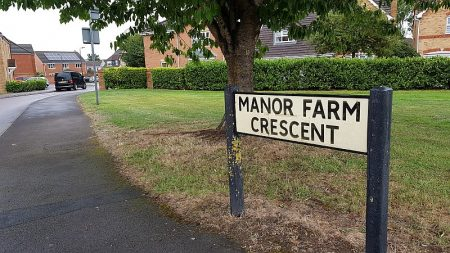 View into Manor Farm Crescent from Brook Way.