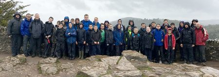 Photo of around 30 members of 1st Bradley Stoke Scouts at Symonds Yat.