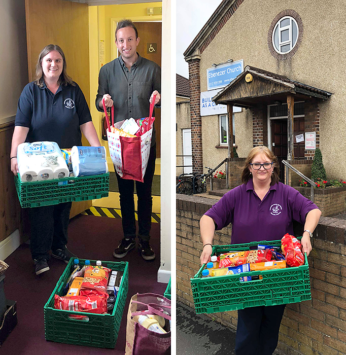 Photo of staff from Ambourne House delivering food donations to the foodbank,