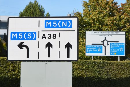 Photo of two road signs on the A38 nortbound between Aztec West and M5 J16.