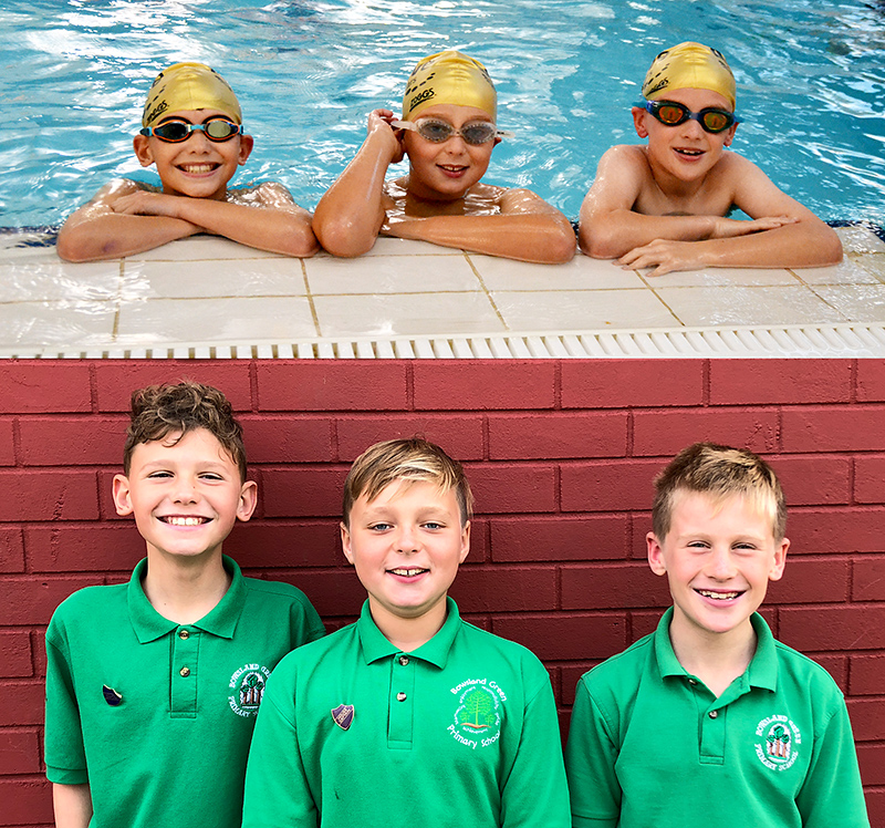 Bowsland Green 'Swim the Channel' team. L-r Finley Palmer, Archie Matthews and Joe Moody.