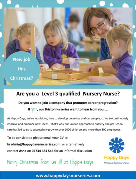 Happy Days recruiting Level 3 qualified nursery nurses.