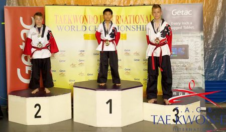 Photo of Nathan Wong on the podium at the Taekwondo International World Championships.