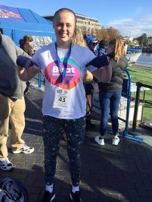 Photo of Sophie Mitchell at the bungee jump event at Bristol harbourside.
