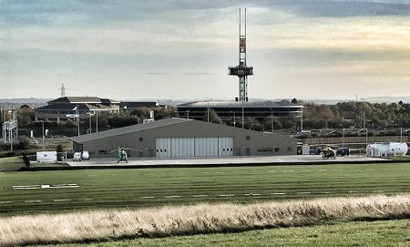 Photo of of air base looking south, towards Bradley Stoke, with the RAC Supercentre in the background.