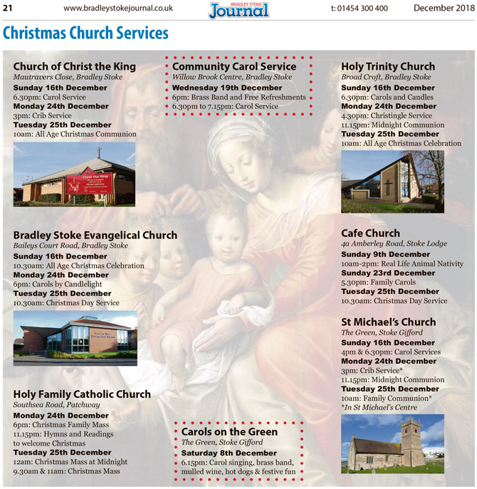 2018 Christmas church services in Bradley Stoke.