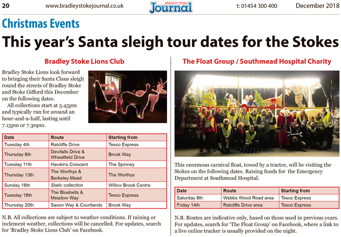 2018 Santa sleigh tour dates for Bradley Stoke.