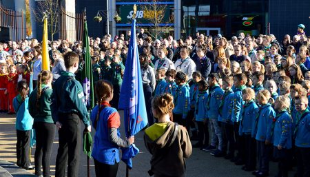 Photo showing a packed town square at the Remembrance ceremony.