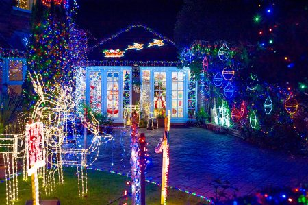 Watch Elm Close charity Christmas lights display.